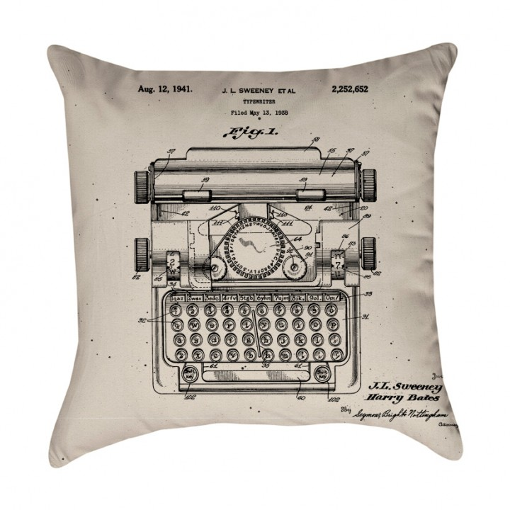 Typewriter Patent Pillow Cover