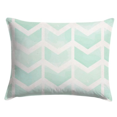 Watercolor Mint Chevron Pillow Sham