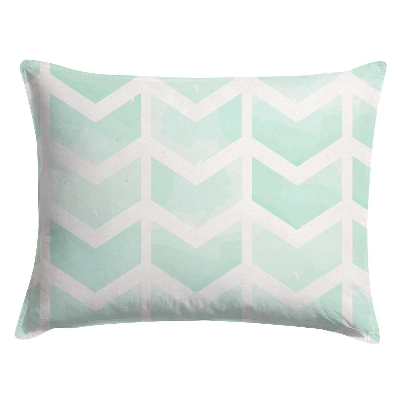 watercolor floral chintz pillow sham project cottage - watercolor mint chevron pillow sham