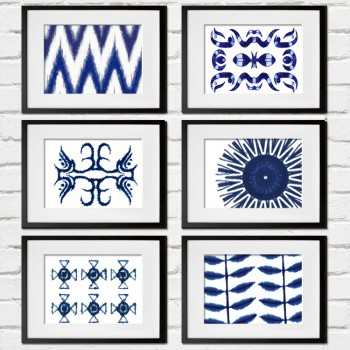 set_of_six_framed_shibori