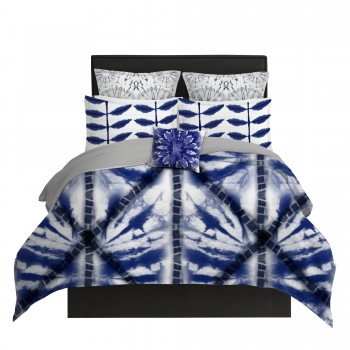 Indigo Shibori Lattice Duvet Cover