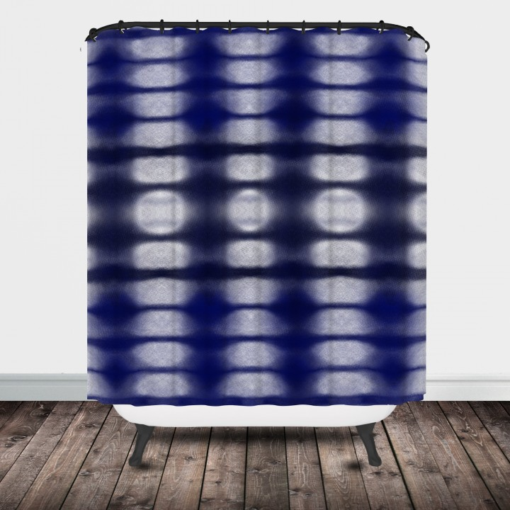 indigo blue shower curtain