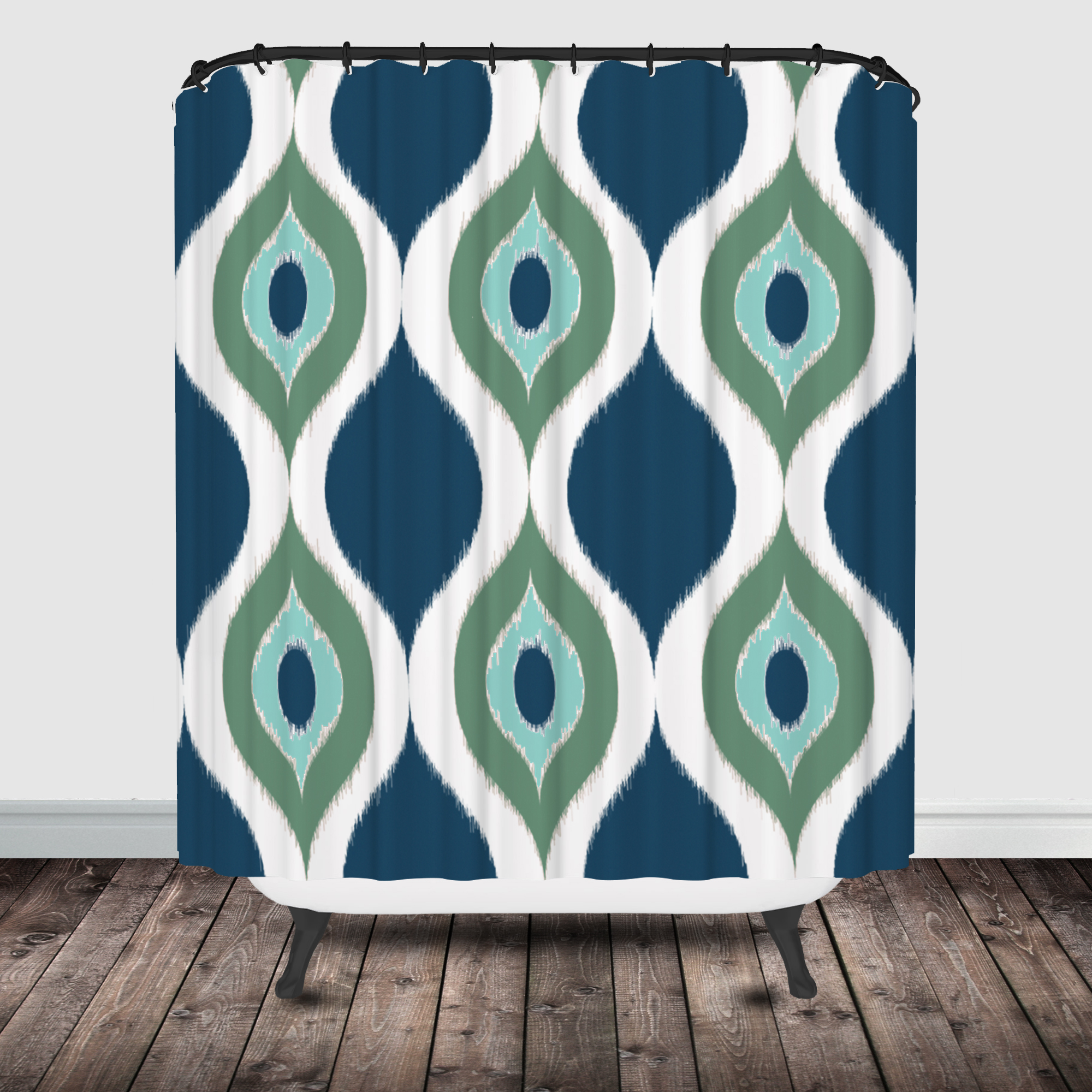 Navy ikat curtains -  Ikat Shower Curtain