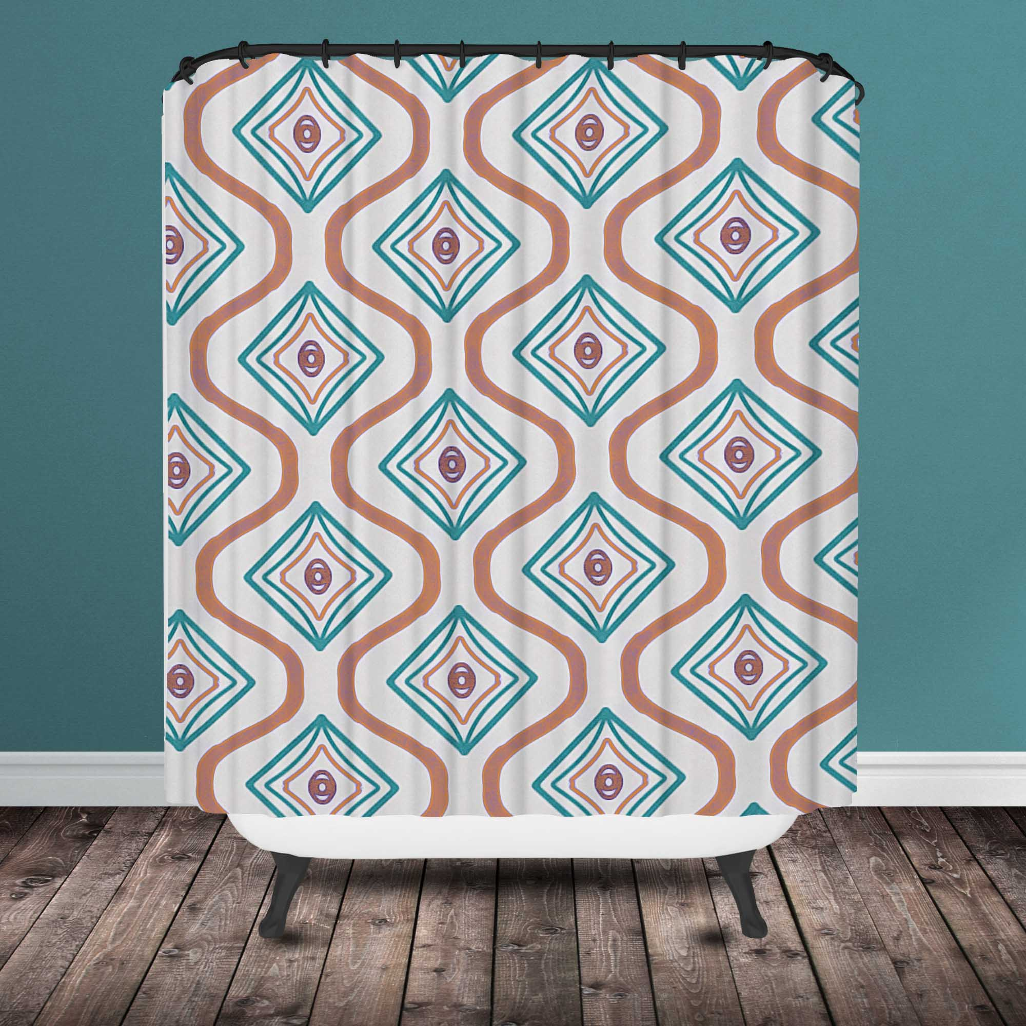 Turquoise And Coral Shower Curtain.  Moroccan shower curtain Chevron Ikat Shower Curtain