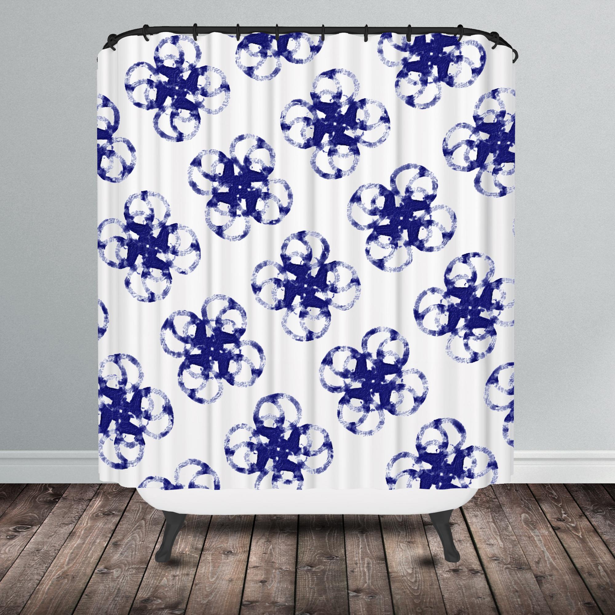 blue shibori shower curtain