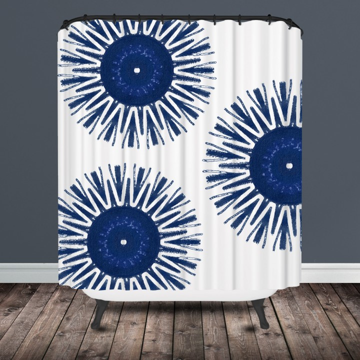 Indigo Medallion Shower Curtain