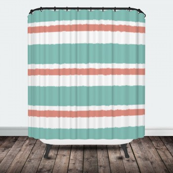 Coral Mint Stripe Shower Curtain