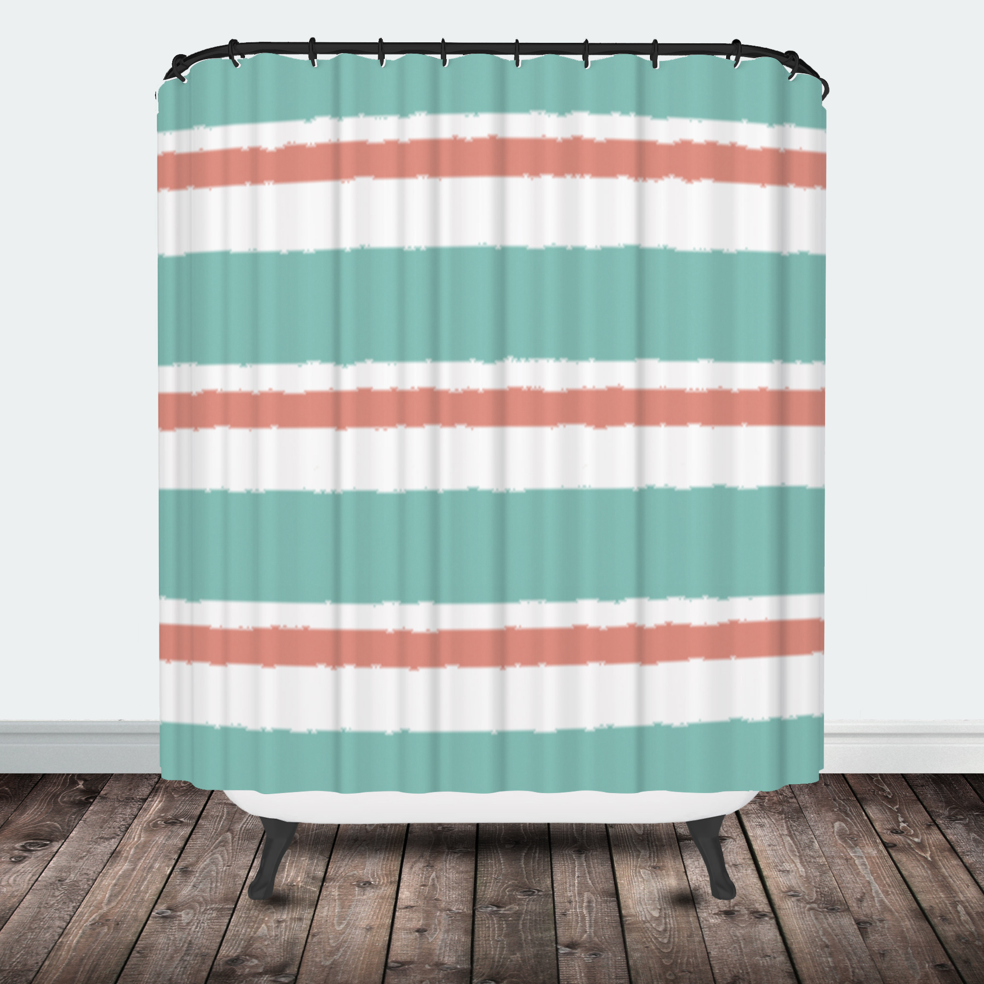 Star Burst Tribal Shower Curtain Coral Mint Stripe