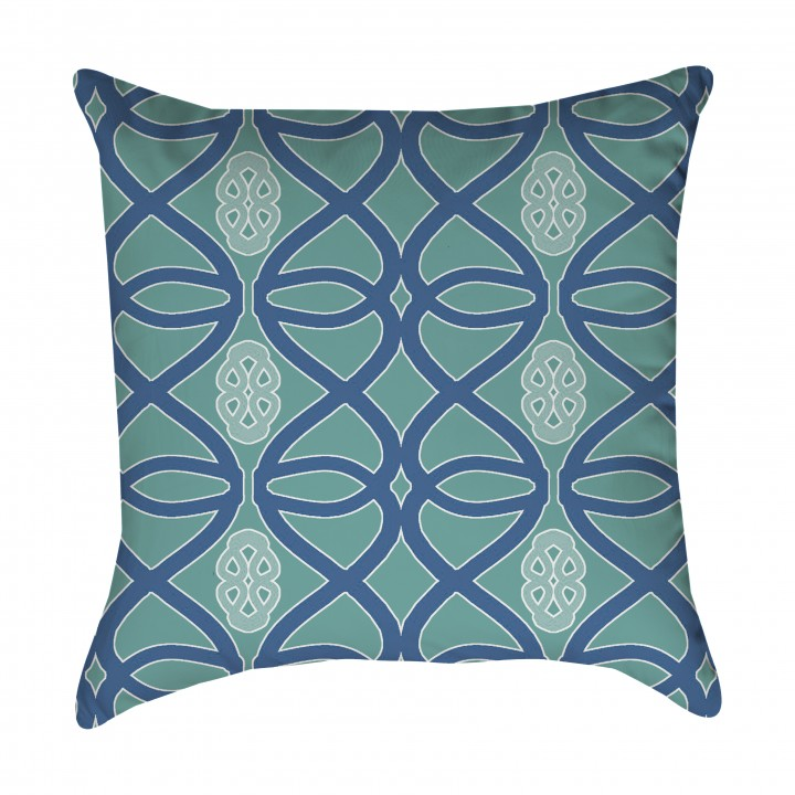 Seafoam and Blue Tribal Outdoor Pillow