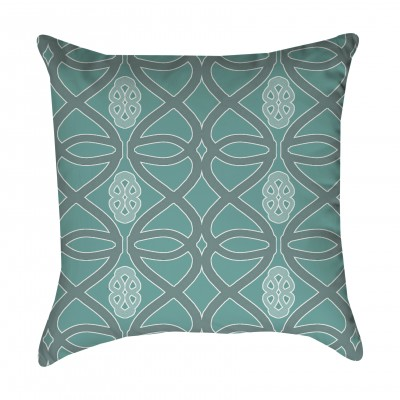 Seafoam and Gray Tribal Outdoor Pillow