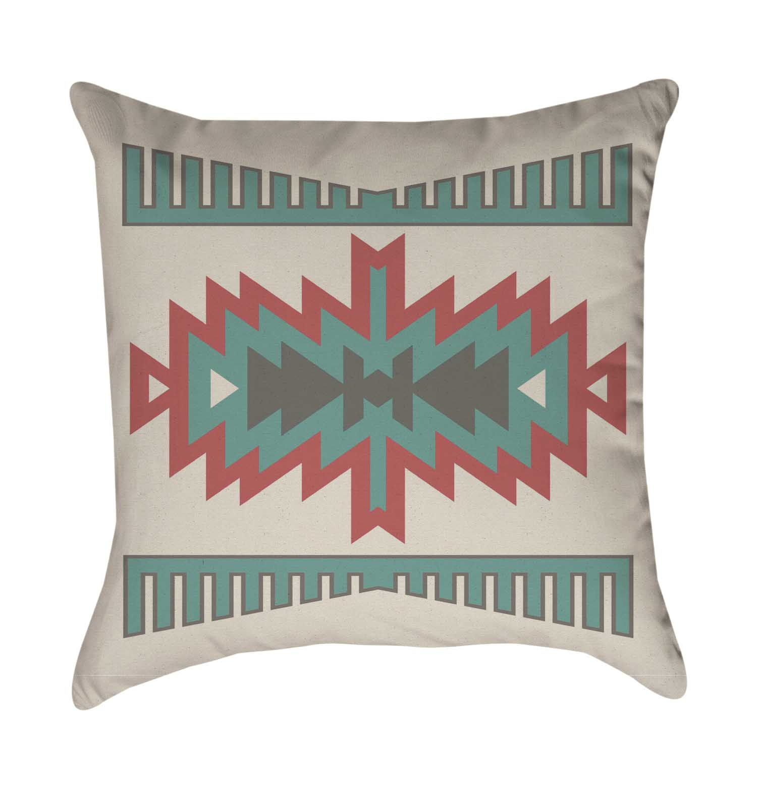 Orange and Turquoise Aztec Throw Pillow