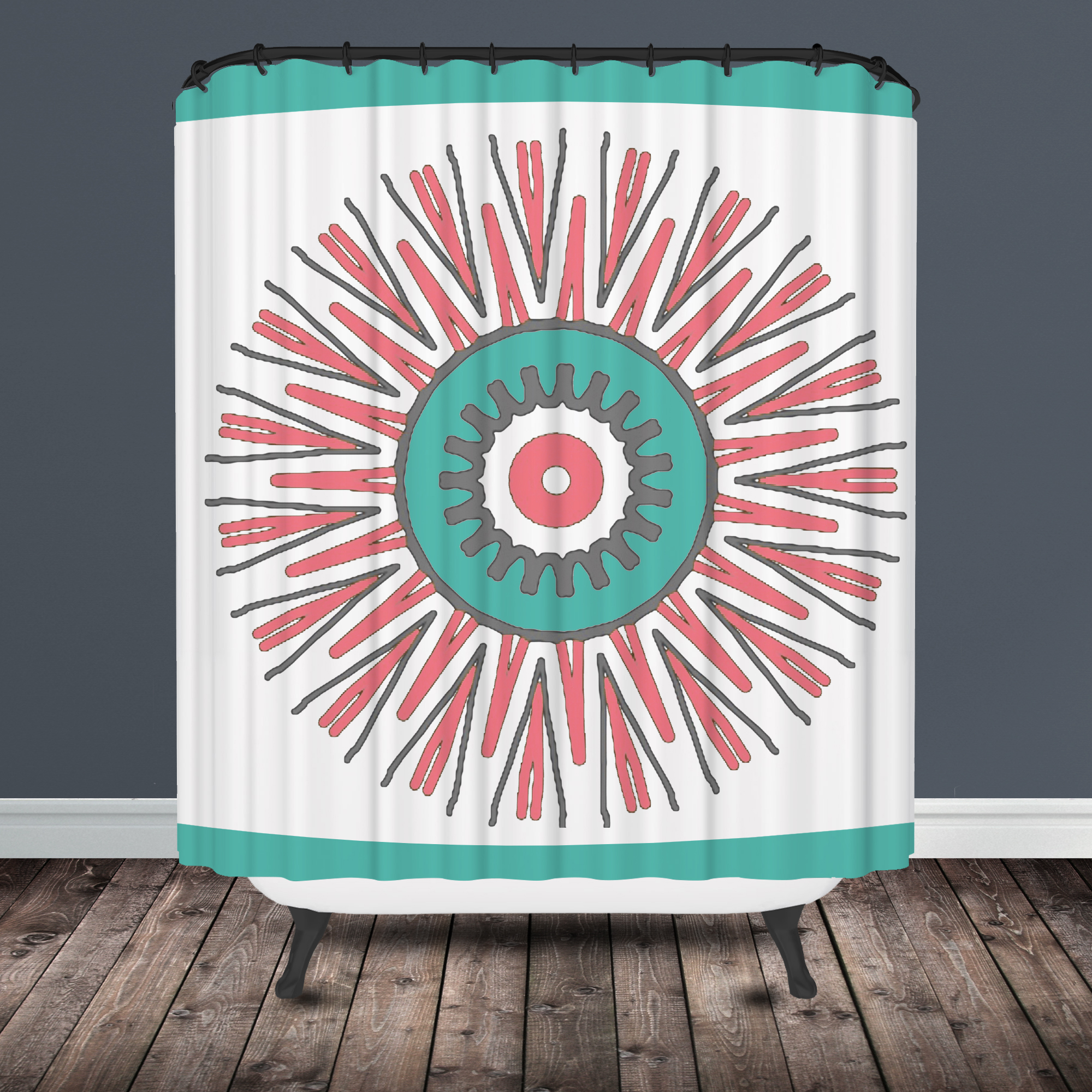 Turquoise And Coral Shower Curtain. Star Burst Tribal Shower Curtain