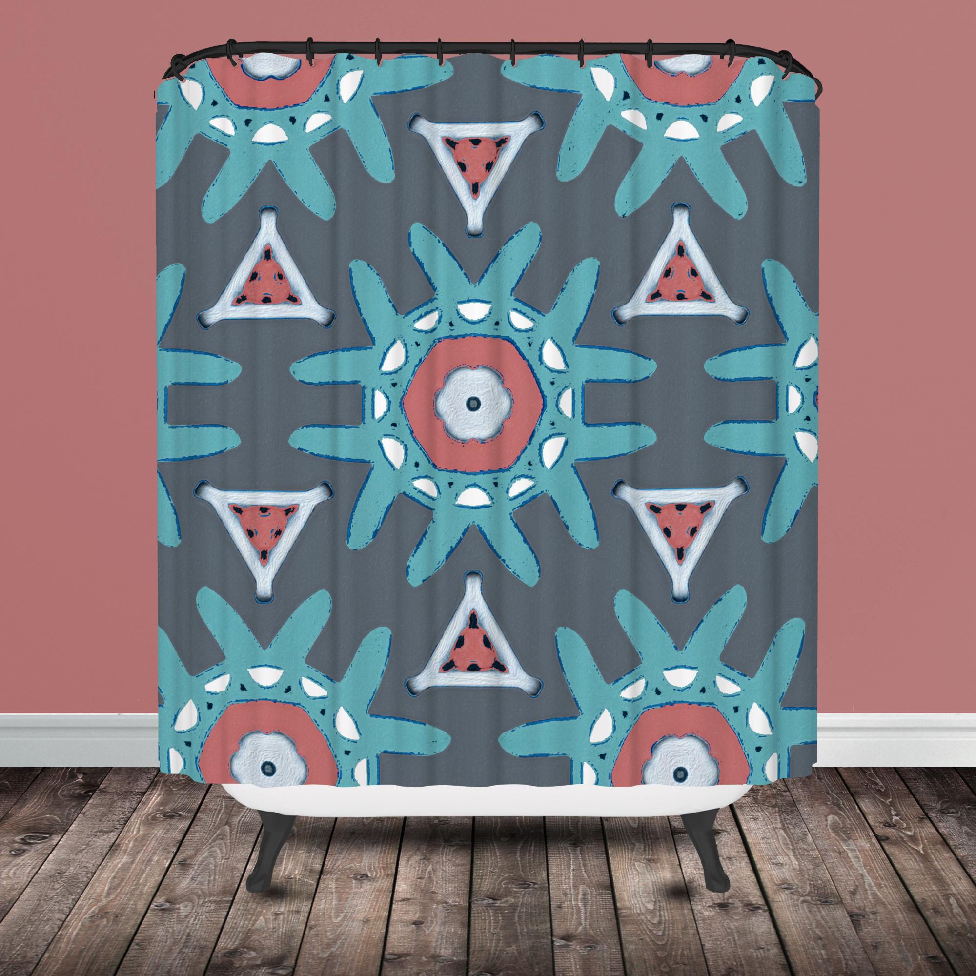 Coral and mint shower curtain - Star Burst Tribal Shower Curtain Coral Mint Stripe Shower Curtain Tribal Shower Curtain