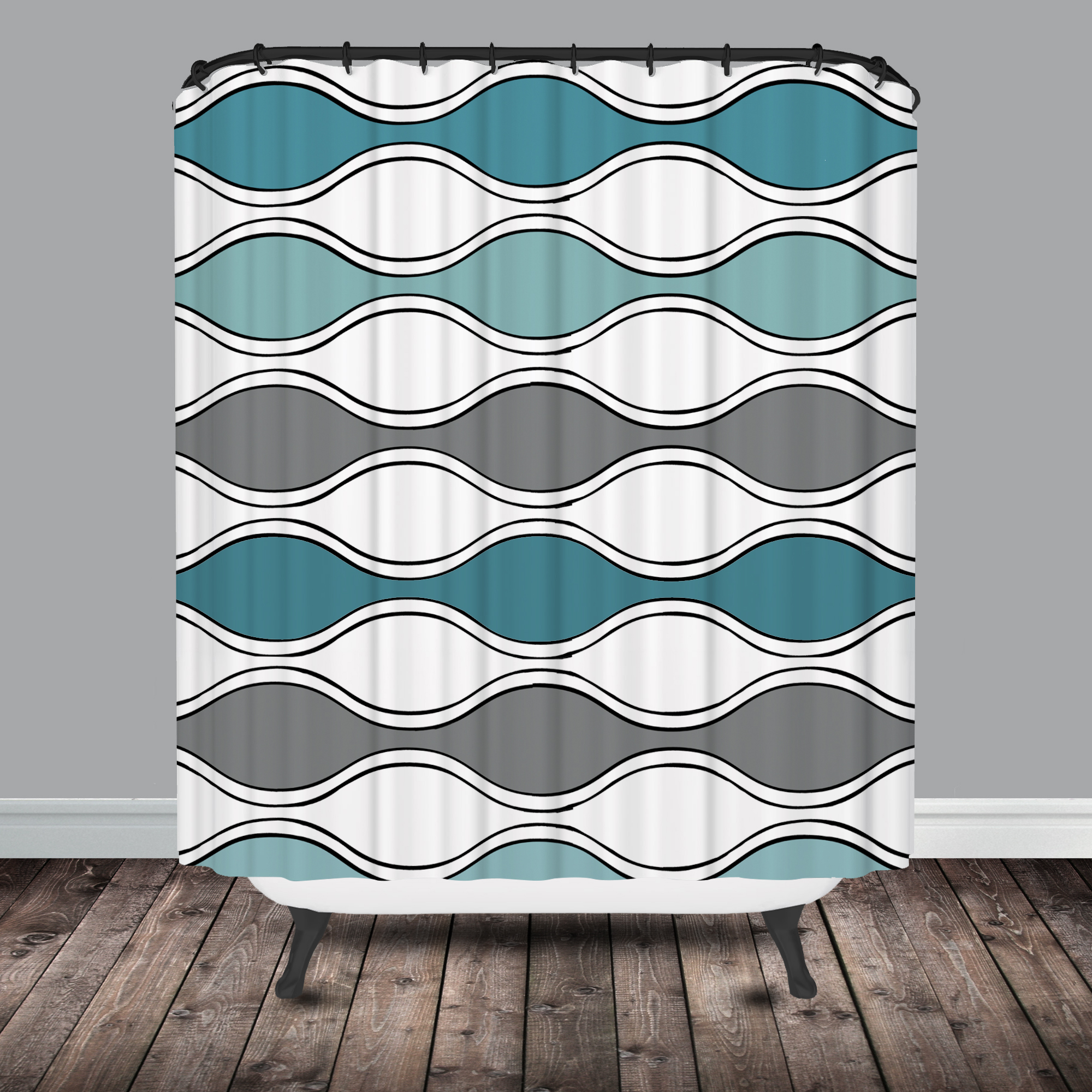 Seafoam Navy Mod Flower Shower Curtain
