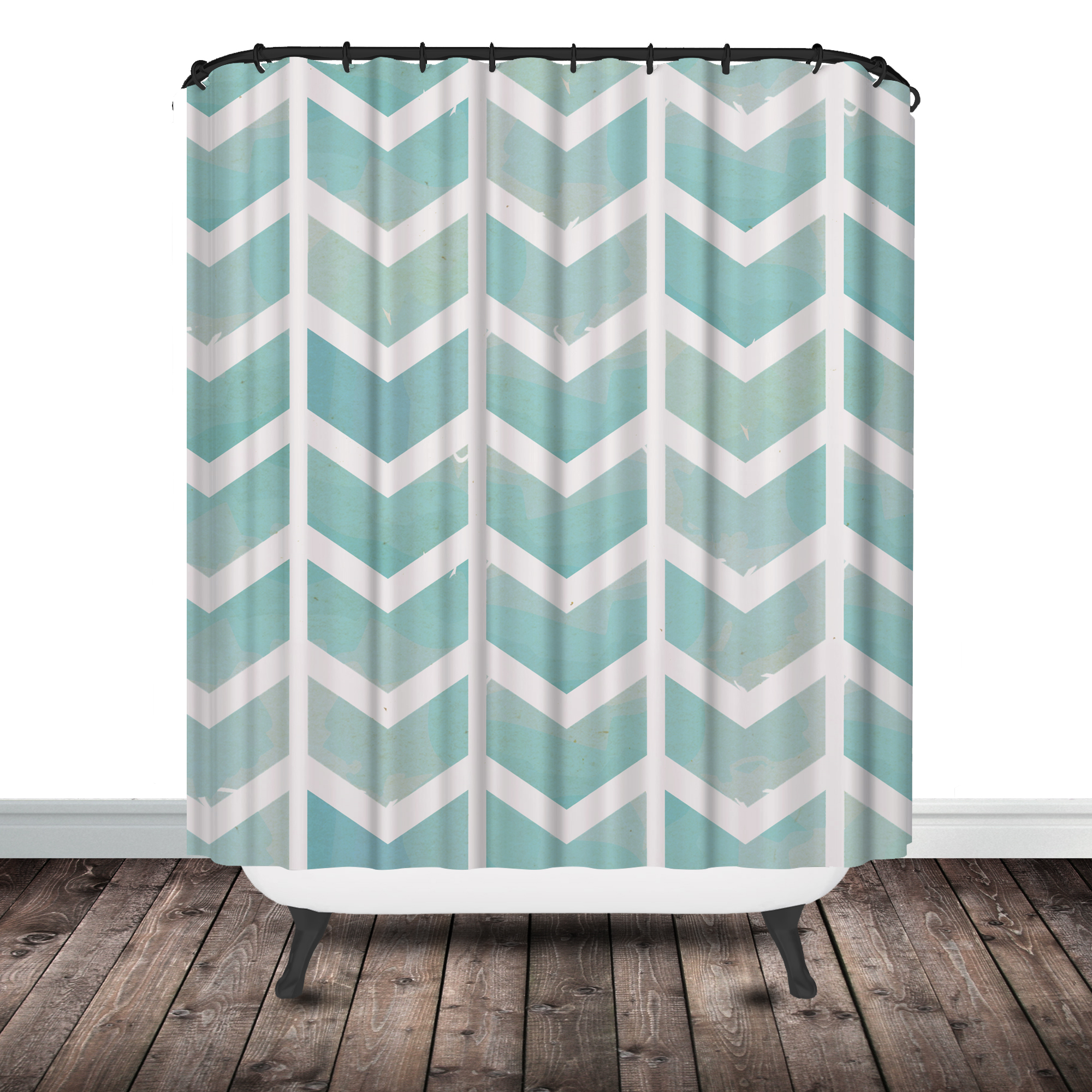 Dkny Bathroom Accessories Aqua Chevron Shower Curtain