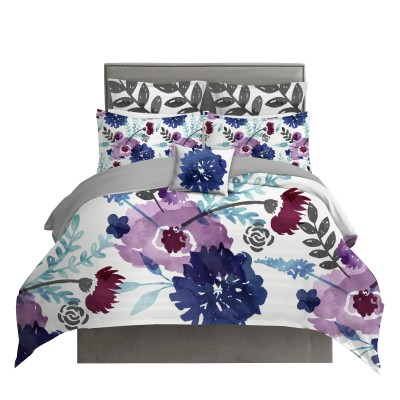 Purple and Navy Blue Watercolor Floral Chintz Duvet Cover