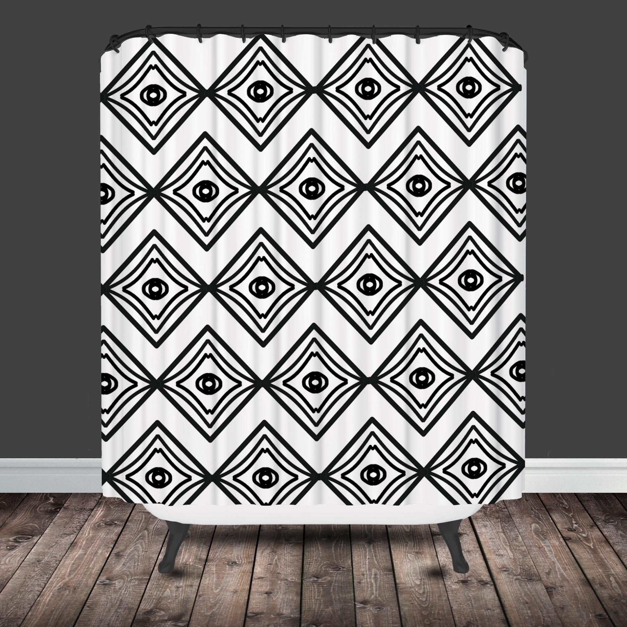 Black and white chevron curtain - Diamond Black And White Moroccan Shower Curtain