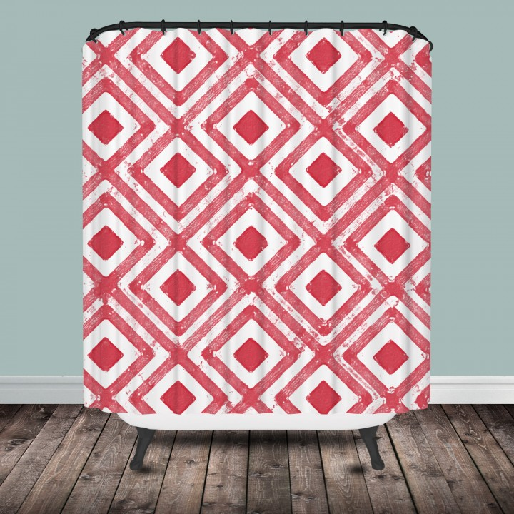 Coral Diamond Shower Curtain