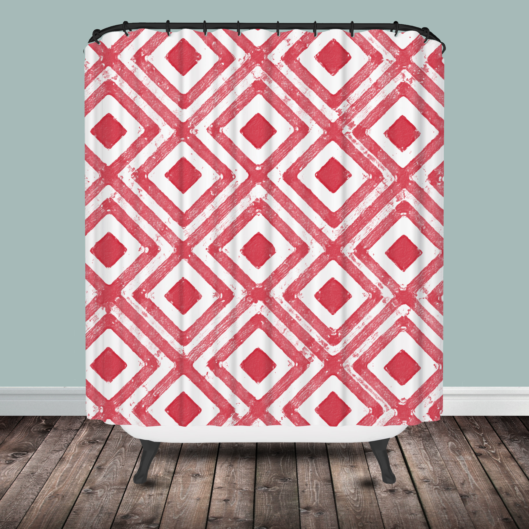 Coral Diamond Shower Curtain  Shower Curtain. Coral And Teal Shower Curtain. Home Design Ideas