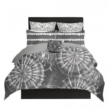 Gray Shibori Starburst Duvet Cover
