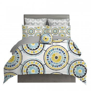 Yellow and Gray Watercolor Medallion Duvet Cover