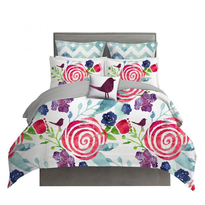 Watercolor Floral Chintz Duvet Cover