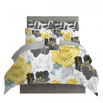 Yellow and Gray Watercolor Floral Chintz Duvet Cover