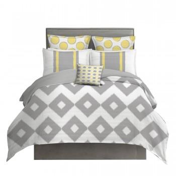 Yellow and Gray Diamond Ikat Bedding Set