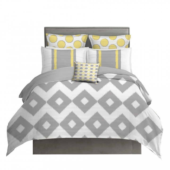 Yellow and Gray Diamond Ikat Bedding Set