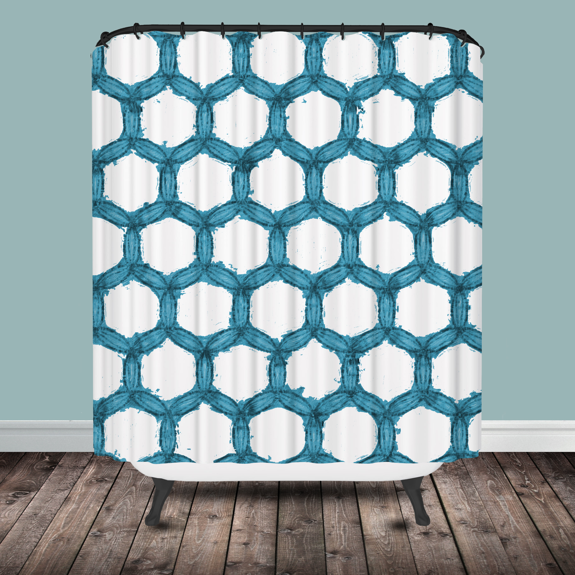 Aqua Chevron Shower Curtain -  chevron shower curtain watercolor shower curtain