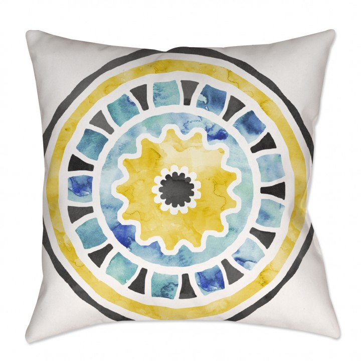 Yellow and Gray Watercolor Medallion Throw Pillow
