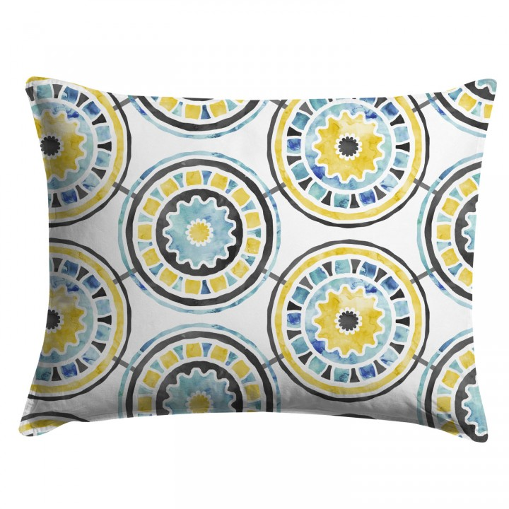 Yellow and Gray Watercolor Medallion Pillow Sham