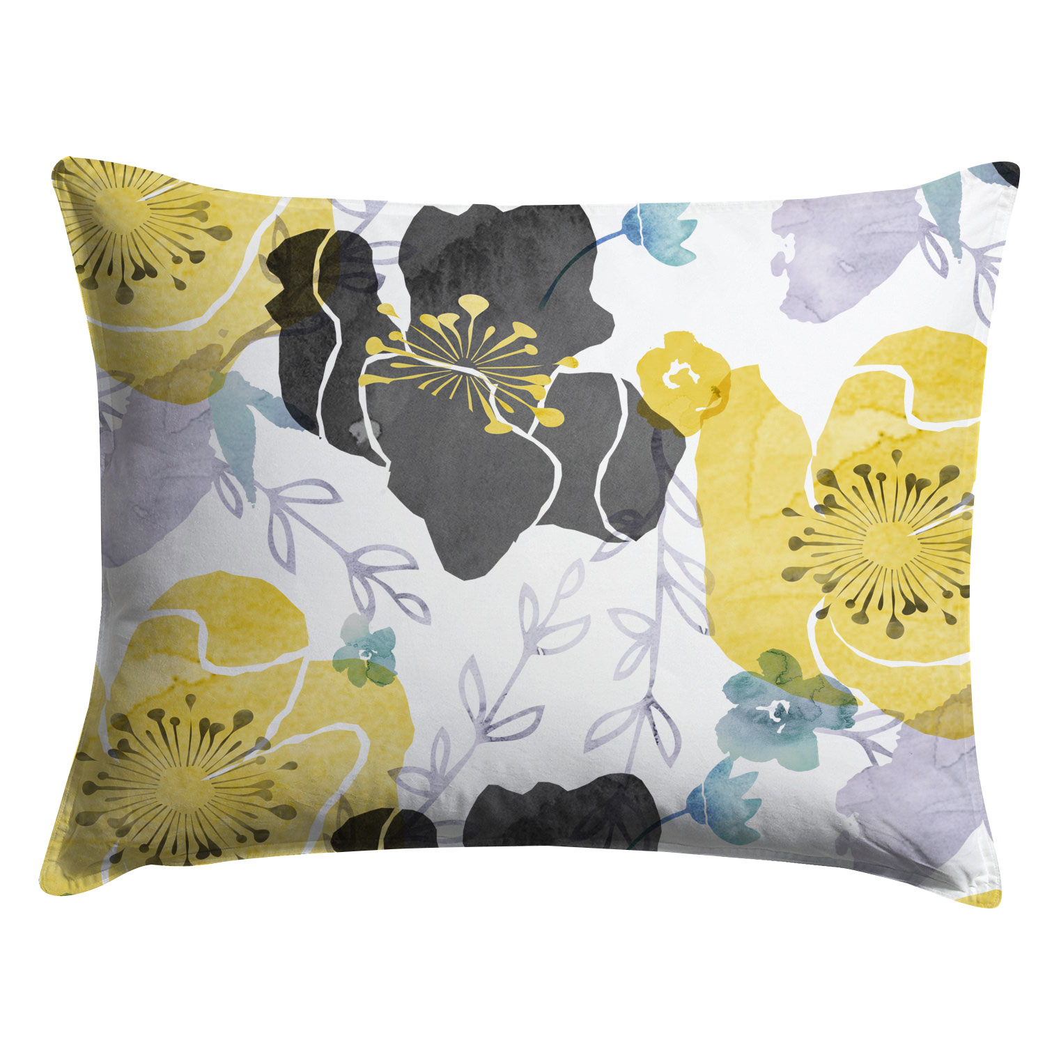 Yellow and Gray Watercolor Floral Chintz Pillow Sham- Project Cottage