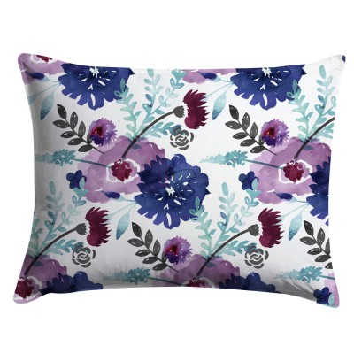 Lavendar and Navy Blue Watercolor Floral Pillow Sham