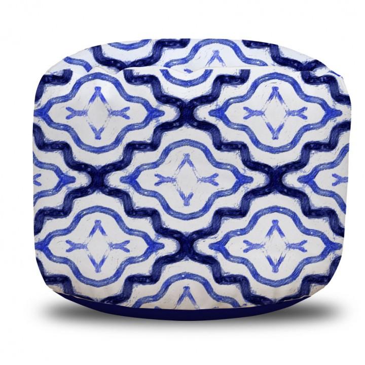 Indigo Moroccan Pattern Round Pouf Ottoman
