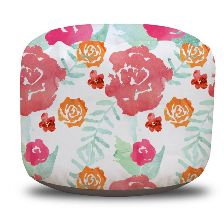 Watercolor Floral Chintz Round Pouf Ottoman