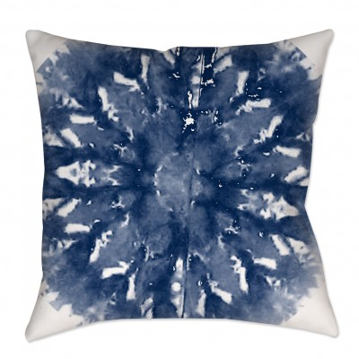 Indigo Shibori Medallion Throw Pillow