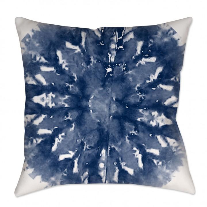 Indigo Shibori Medallion Throw Pillow