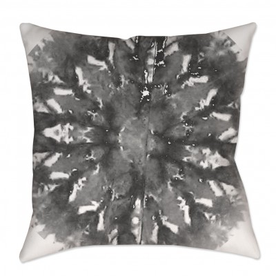 Gray Shibori Medallion Throw Pillow