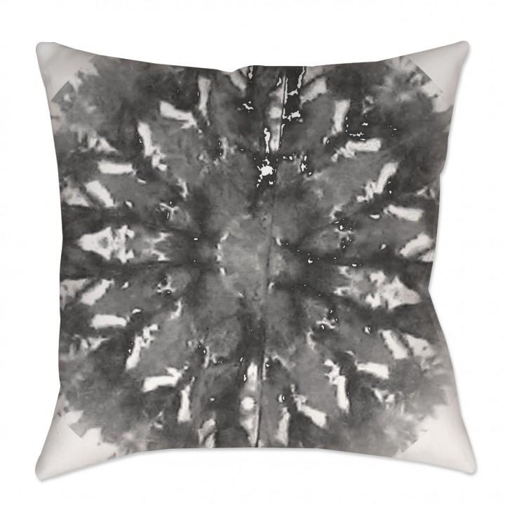 Gray Shibori Medallion Throw Pillow