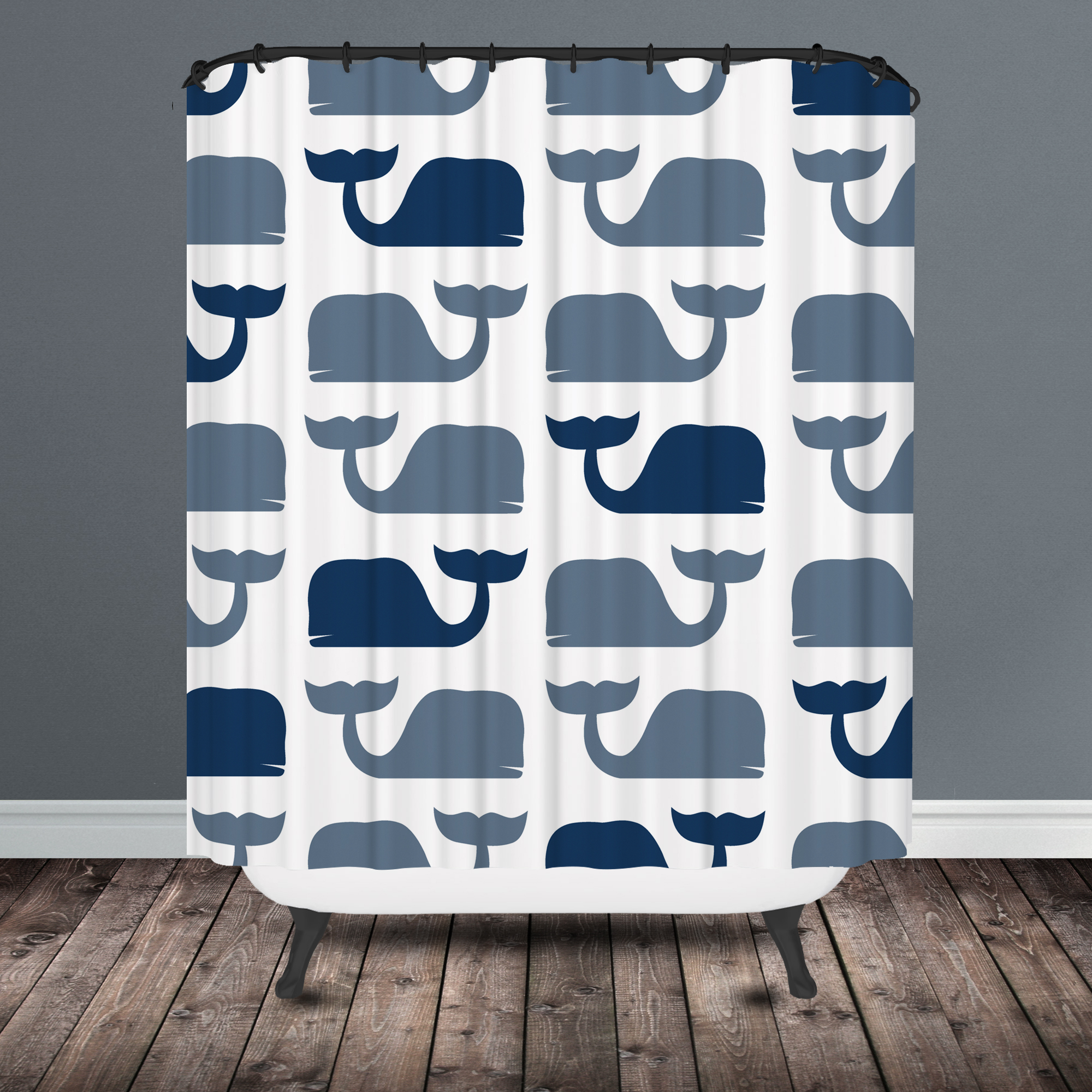 dark blue shower curtain. whale shower curtain Whale Shower Curtain