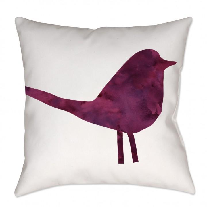 Watercolor Chintz Bird Throw Pillow