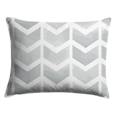 Gray Watercolor Chevron Pillow Sham