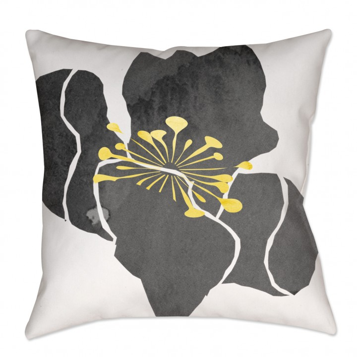 Yellow and Gray Watercolor Floral Chintz Throw Pillow