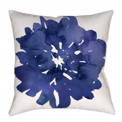 Navy Blue Watercolor Floral Throw Pillow