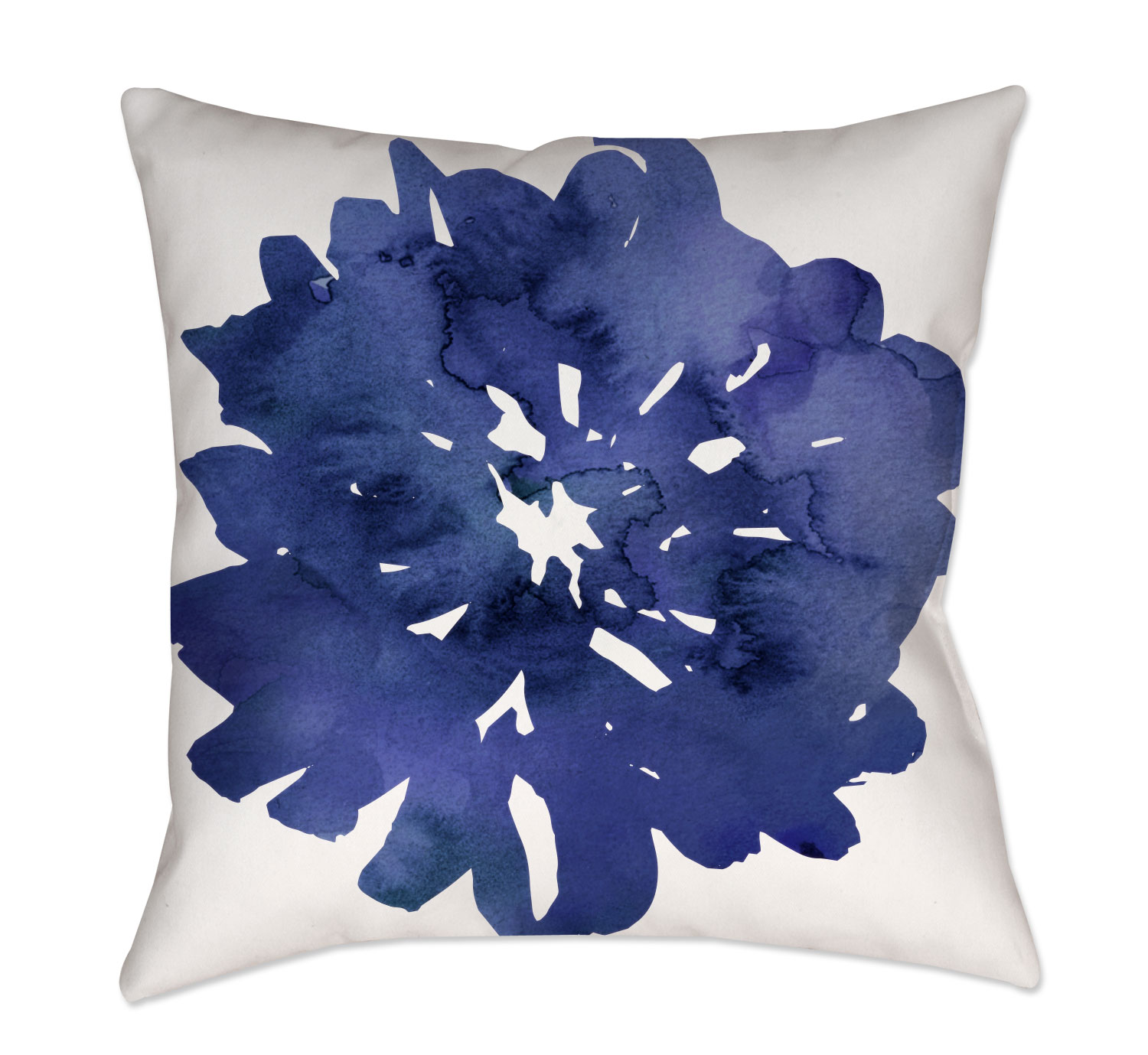 Navy Blue Watercolor Floral Throw Pillow- Project Cottage